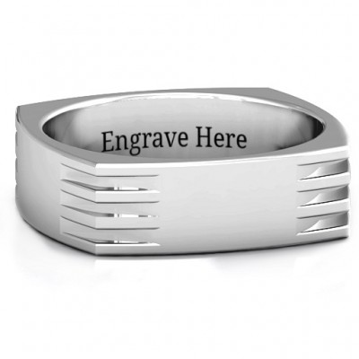 Areo Grooved Square-shaped Men's Personalised Ring - AMAZINGNECKLACE.COM