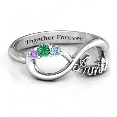 Aunt's Infinite Love Personalised Ring with Stones  - AMAZINGNECKLACE.COM