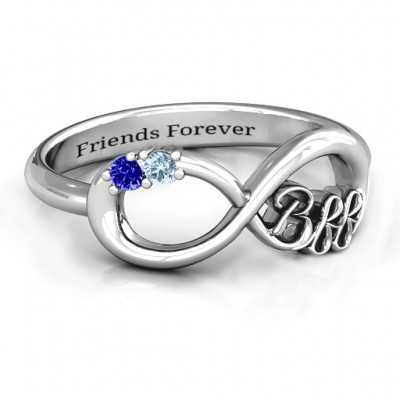 BFF Friendship Infinity Personalised Ring with 2 - 7 Stones  - AMAZINGNECKLACE.COM
