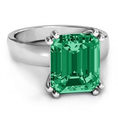 Basket Set Emerald Cut Personalised Ring - AMAZINGNECKLACE.COM