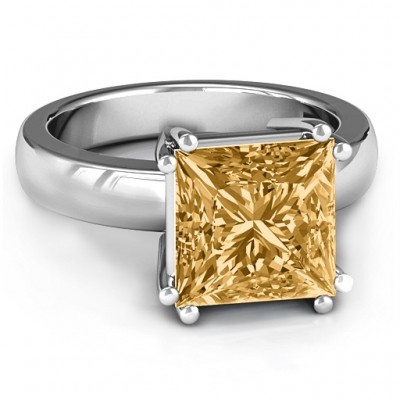 Basket Set Princess Cut Solitaire Personalised Ring - AMAZINGNECKLACE.COM