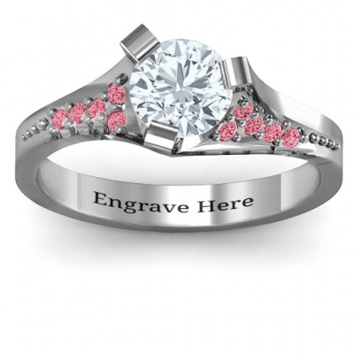 Beloved Tri-Set Personalised Ring with Accents - AMAZINGNECKLACE.COM