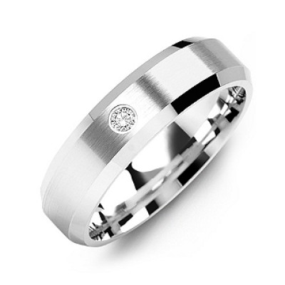 Beveled-Edge Brushed Men's Gemstone Personalised Ring  - AMAZINGNECKLACE.COM