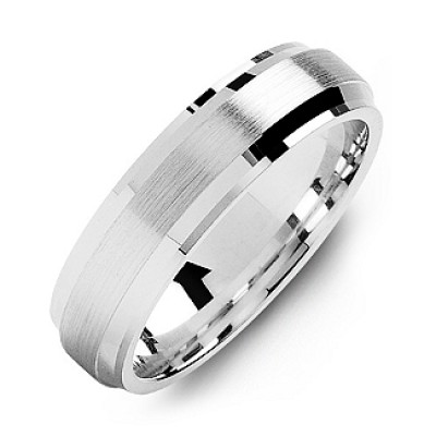 Beveled Edge Men's Personalised Ring with Brushed Centre - AMAZINGNECKLACE.COM