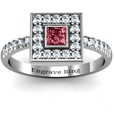 Bezel Princess Stone with Channel Accents in the Band Personalised Ring  - AMAZINGNECKLACE.COM