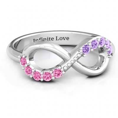 Birthstone Infinity Accent Personalised Ring  - AMAZINGNECKLACE.COM