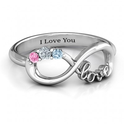 Birthstone Infinity Love Personalised Ring  - AMAZINGNECKLACE.COM