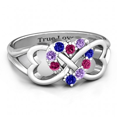 Birthstone Triple Heart Infinity Personalised Ring  - AMAZINGNECKLACE.COM