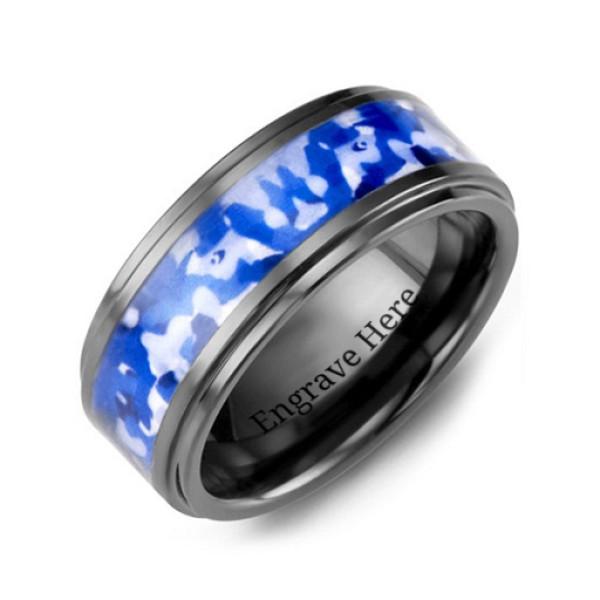 Blue Marine Camouflage Ceramic Wedding Personalised Ring - AMAZINGNECKLACE.COM
