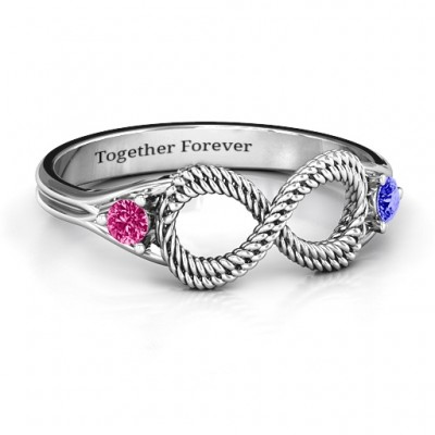 Braided Infinity Personalised Ring with Two Stones  - AMAZINGNECKLACE.COM