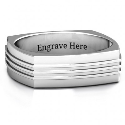 Bridge Grooved Square-shaped Men's Personalised Ring - AMAZINGNECKLACE.COM