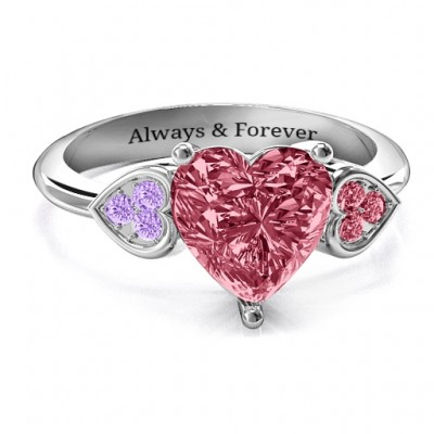 Brilliant Love Accented Heart Personalised Ring - AMAZINGNECKLACE.COM