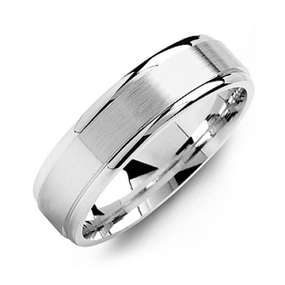 Brushed Centre Men's Personalised Ring with Polished Edges - AMAZINGNECKLACE.COM