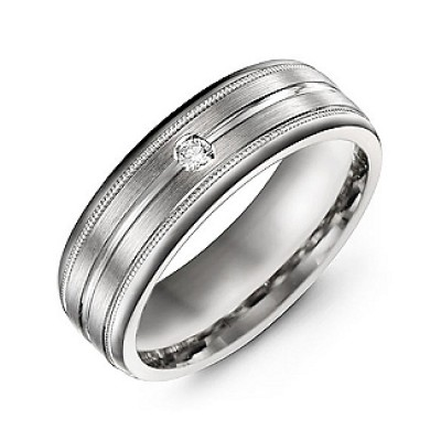 Brushed Layer Men's Personalised Ring with Milgrain Edges - AMAZINGNECKLACE.COM