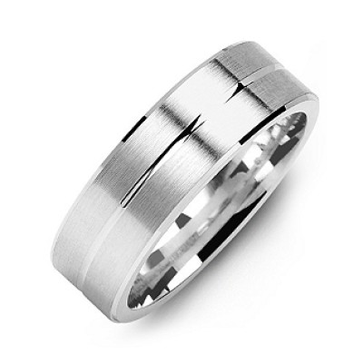 Brushed Men's Personalised Ring with Beveled Edges and Lined Centre - AMAZINGNECKLACE.COM