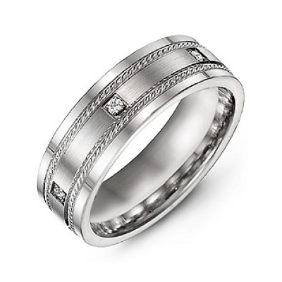 Brushed Men's Personalised Ring with Rope Detail and Gemstone Accents  - AMAZINGNECKLACE.COM