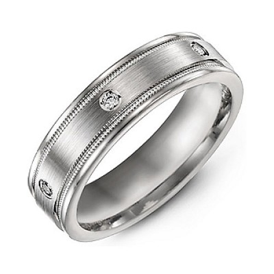 Brushed Milgrain Men's Personalised Ring with Gemstone Accents  - AMAZINGNECKLACE.COM