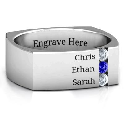 Cache Square-shaped Gemstone Men's Personalised Ring  - AMAZINGNECKLACE.COM