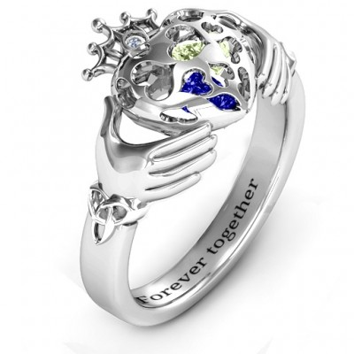 Caged Hearts Claddagh Personalised Ring - AMAZINGNECKLACE.COM