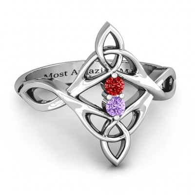 Celtic Sparkle Personalised Ring with Interwoven Infinity Band - AMAZINGNECKLACE.COM