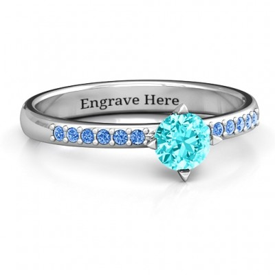 Centre Round Stone Personalised Ring with Twin Accent Rows  - AMAZINGNECKLACE.COM