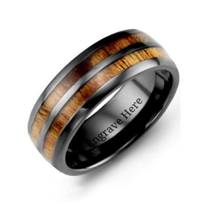 Ceramic Koa Wood Barrel Style Eternity Personalised Ring - AMAZINGNECKLACE.COM