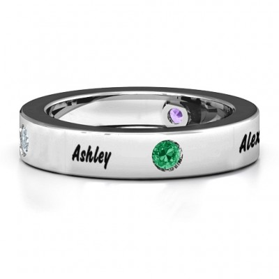 Circular Band 2-5 Stones Personalised Ring  - AMAZINGNECKLACE.COM