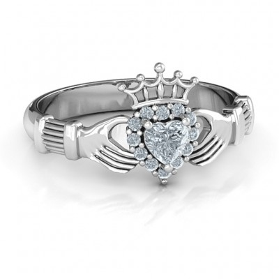 Claddagh with Halo Personalised Ring - AMAZINGNECKLACE.COM
