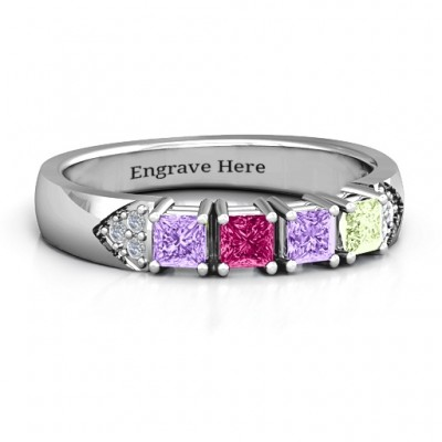 Classic 2-7 Princess Cut Personalised Ring with Accents - AMAZINGNECKLACE.COM