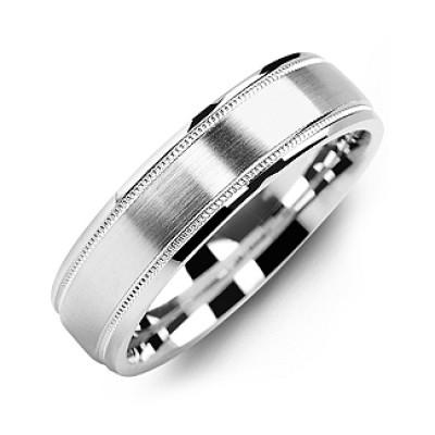 Classic Brush Milgrain Men's Personalised Ring - AMAZINGNECKLACE.COM