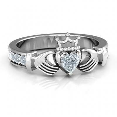 Classic Claddagh Heart Cut Personalised Ring with Accents - AMAZINGNECKLACE.COM