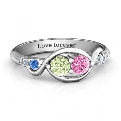 Classic Curves Two-Stone Personalised Ring  - AMAZINGNECKLACE.COM