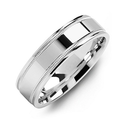 Classic High-Polish Milgrain Men's Personalised Ring - AMAZINGNECKLACE.COM