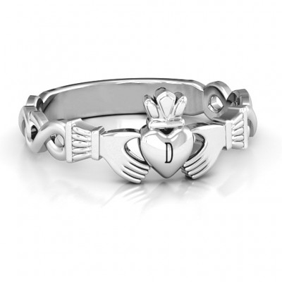 Classic Infinity Claddagh Personalised Ring - AMAZINGNECKLACE.COM