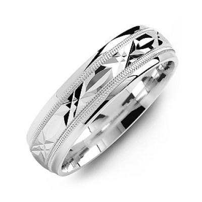 Classic Men's Personalised Ring with Diamond Cut Pattern - AMAZINGNECKLACE.COM