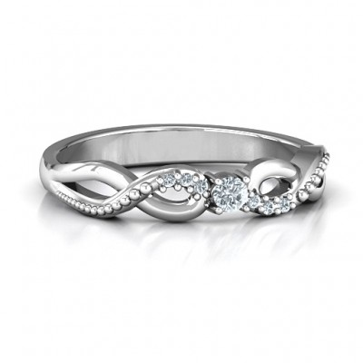 Classic Solitare Sparkle Personalised Ring with Accented Infinity Band - AMAZINGNECKLACE.COM