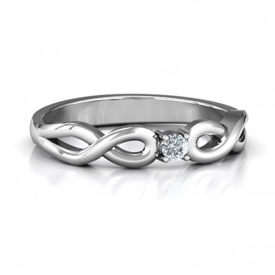 Classic Solitare Sparkle Personalised Ring with Infinity Band - AMAZINGNECKLACE.COM
