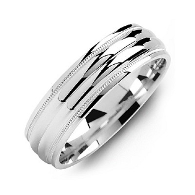 Classic Two-Line Milgrain Men's Personalised Ring - AMAZINGNECKLACE.COM