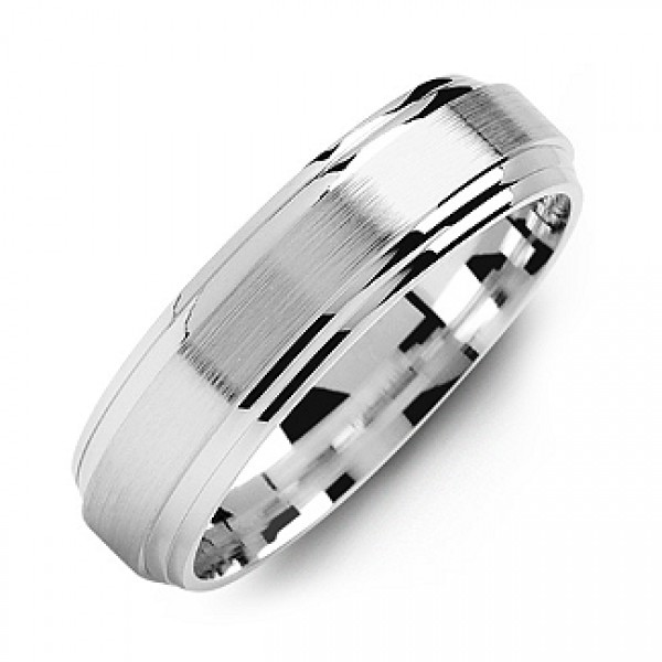 Classic Two-Line Milled-Brush Men's Personalised Ring - AMAZINGNECKLACE.COM