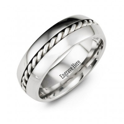 Cobalt Rope Personalised Ring - AMAZINGNECKLACE.COM