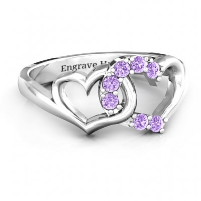 Connecting Hearts Personalised Ring - AMAZINGNECKLACE.COM