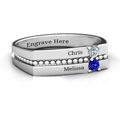 Crevice Beaded Women's Personalised Ring - AMAZINGNECKLACE.COM