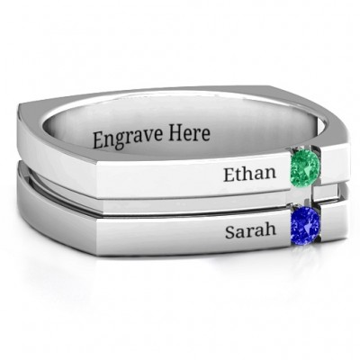 Crevice Grooved Square-shaped Gemstone Men's Personalised Ring  - AMAZINGNECKLACE.COM