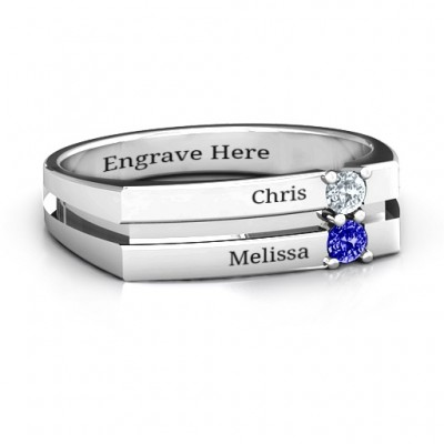 Crevice Grooved Women's Personalised Ring - AMAZINGNECKLACE.COM