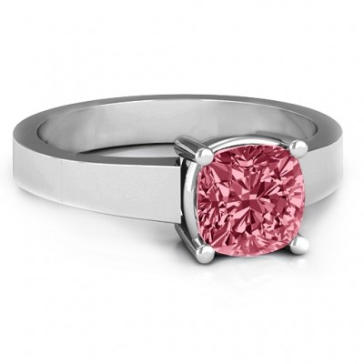 Cushion Cut Solitaire Personalised Ring - AMAZINGNECKLACE.COM