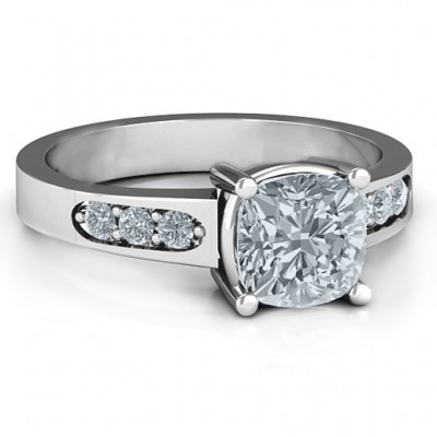 Cushion Cut Solitaire with Accents Personalised Ring - AMAZINGNECKLACE.COM