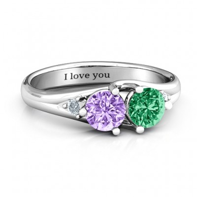 Darling Duo Double Gemstone Personalised Ring  - AMAZINGNECKLACE.COM