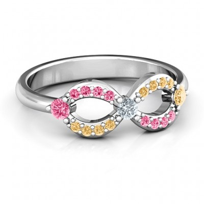 Dazzling Infinity Personalised Ring with Accents - AMAZINGNECKLACE.COM