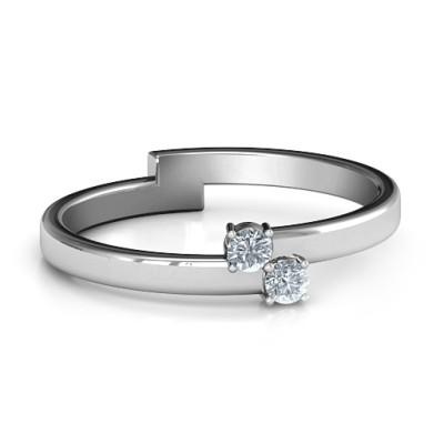 Diagonal Dazzle Personalised Ring With 2-3 Gemstones  - AMAZINGNECKLACE.COM