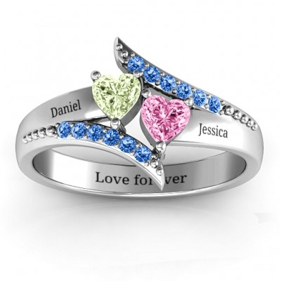 Diagonal Dream Personalised Ring With Heart Stones  - AMAZINGNECKLACE.COM